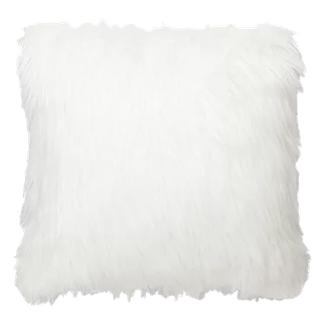 white fuzzy throw pillow -
