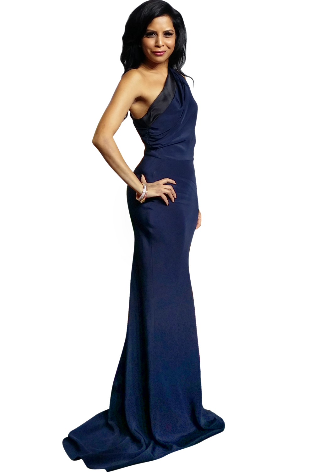 Hitha Herzog wearing a one shoulder top, midnight blue gown.