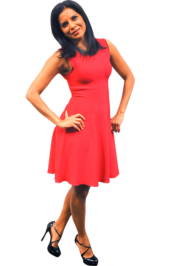 Hitha Herzog in a red sleeveless sheath dress, and patent leather Mary Jane Louboutins.