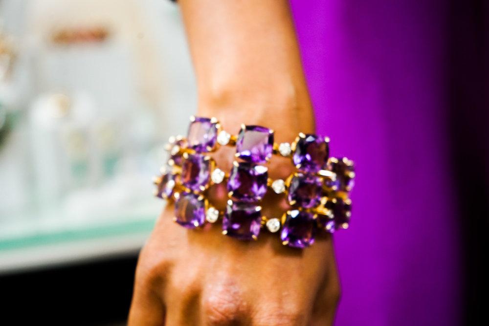 Hitha Herzog wearing a Tony Duquette bracelet.