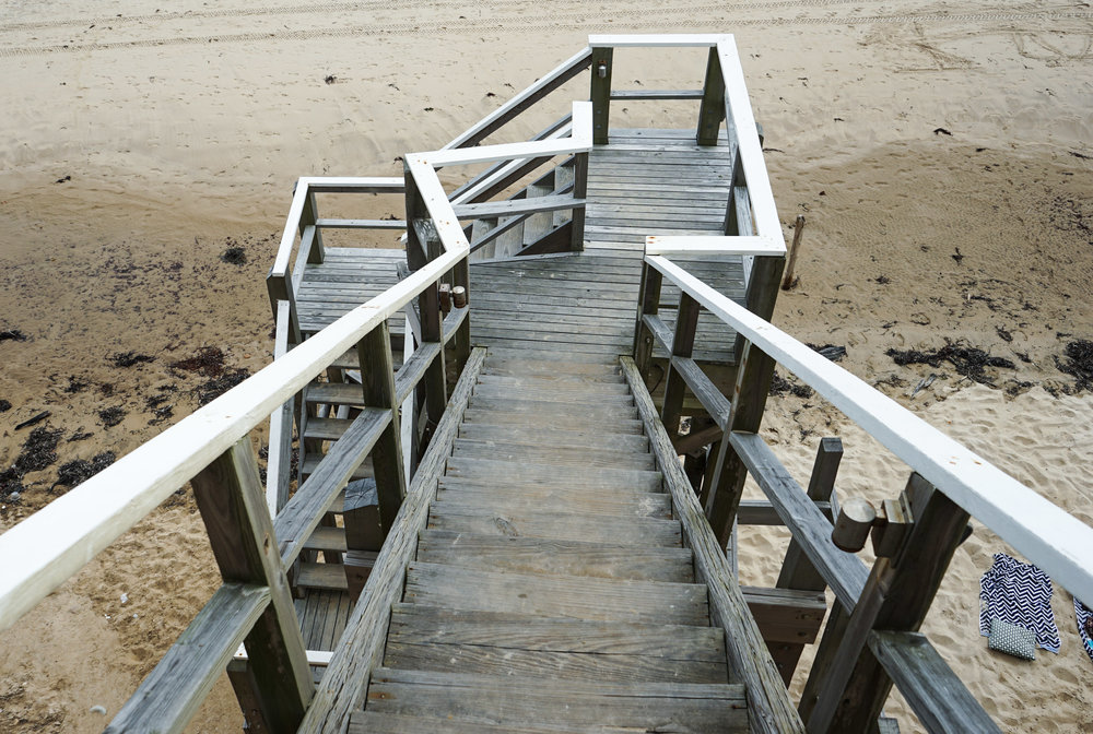 Old stairs that descend straight onto the beach.