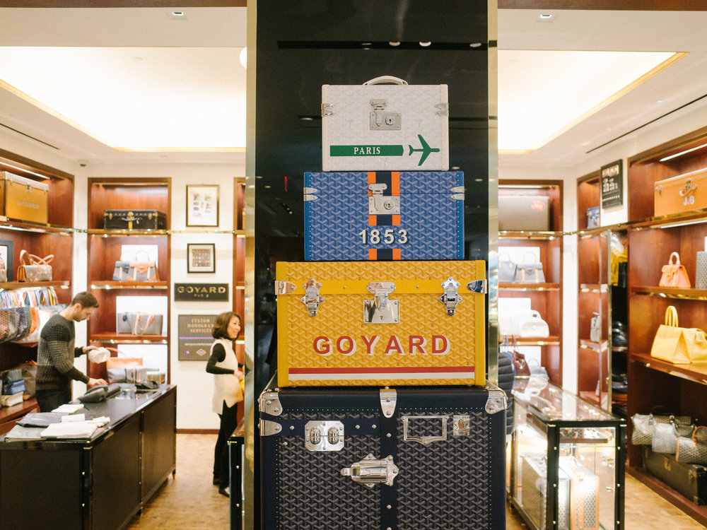 Goyard display at Barneys New York. If you want the real deal bag, save your money and come here instead of Canal Street in Chinatown!