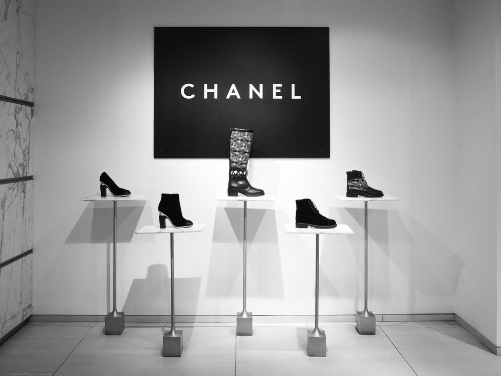 Chanel shoes on display in their flagship store.
