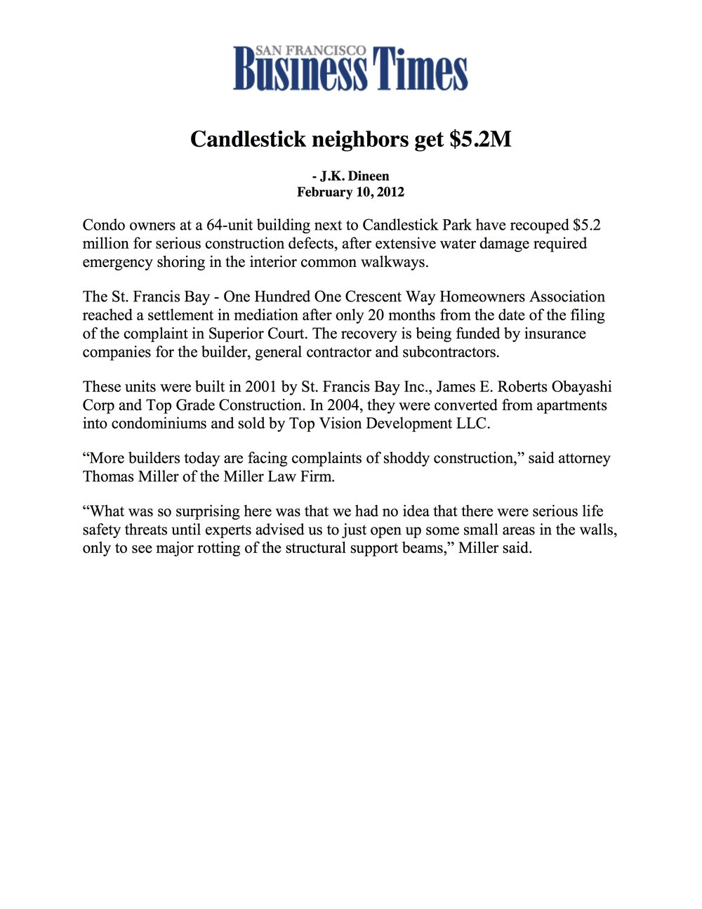 SF Business Times - Candlestick Neighbors Get $5.2M