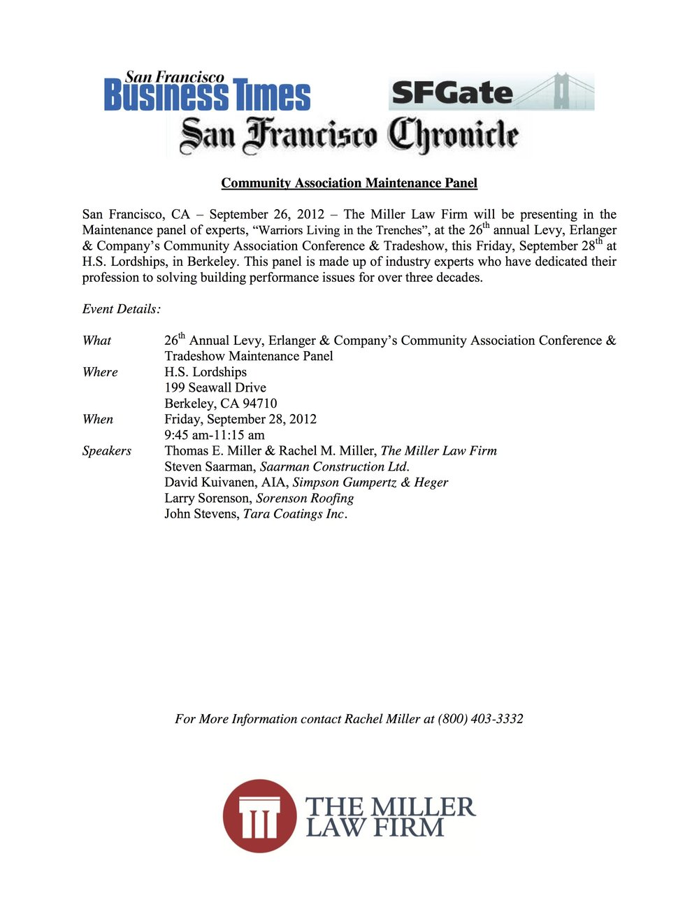 SF Business Times - Community Association Maintenance Panel