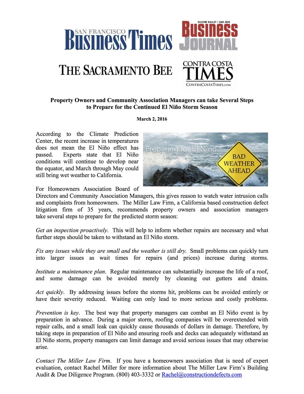 SF Business Times - Property Owners and Community Association Managers can take Several Steps to Prepare for the Continued El Niño Storm Season