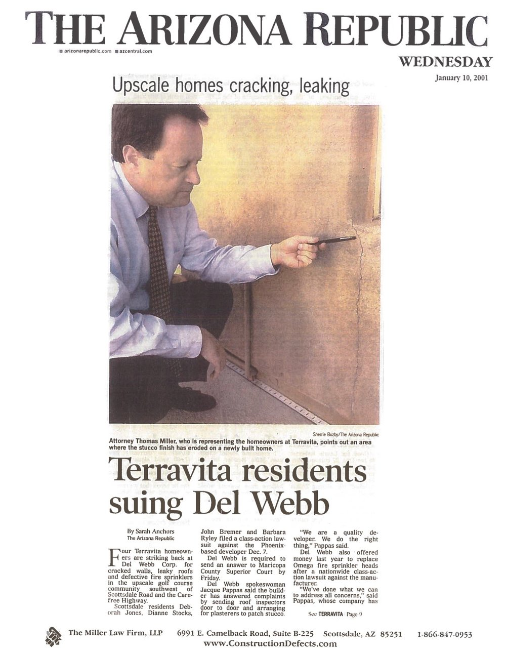 Arizona Republic - Upscale Homes Cracking, Leaking