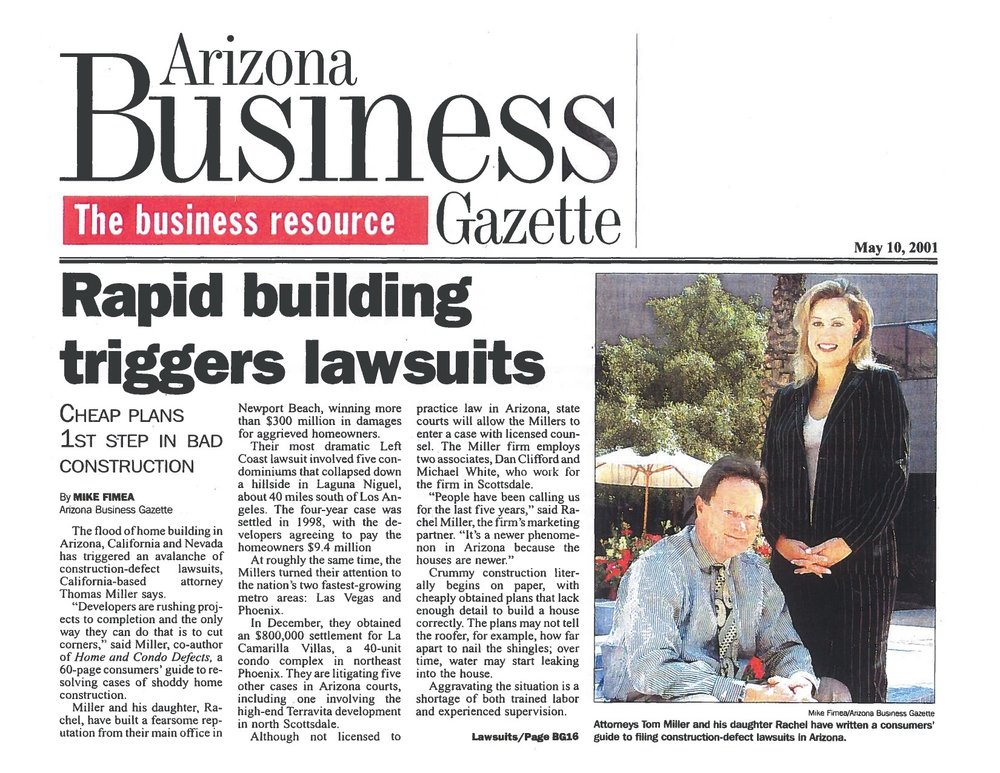 Arizona Business Gazette - Rapid Building Triggers Lawsuits