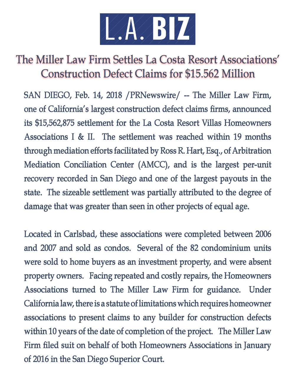The Miller Law Firm Settles La Costa Resort Associations' Construction Defect Claims for $15.562 Million