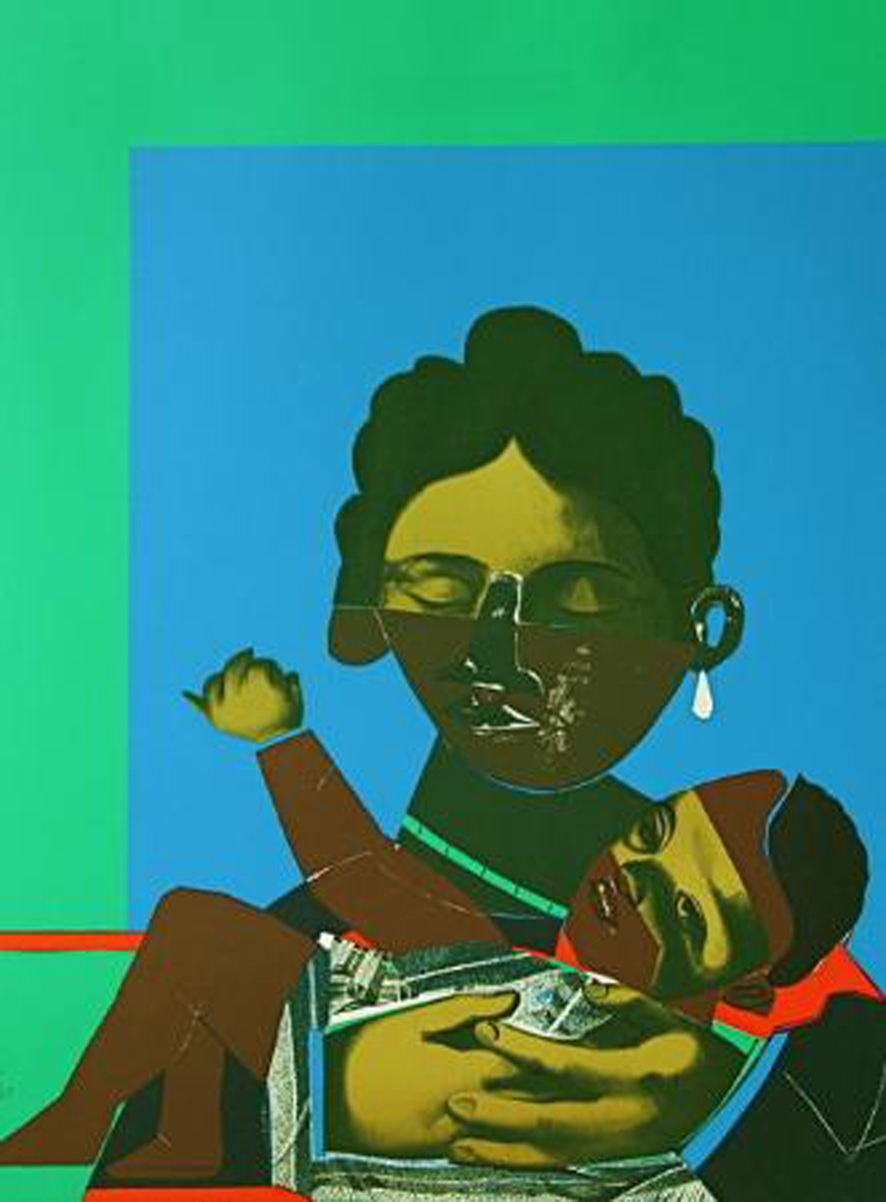 Romare Bearden, Mother and Child, 1977, Silkscreen with Photo-lithograph
