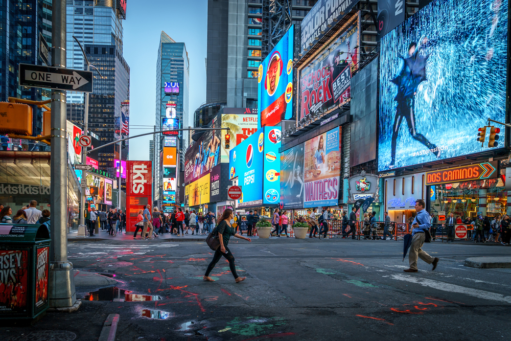 Times Square jusr after rush hour..