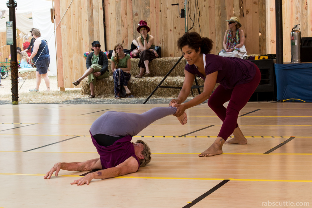 image: two dancers rehearsing. PHOTO CREDIT: Martin Norred