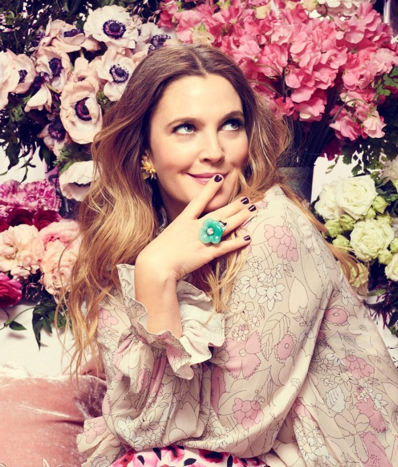 Drew Barrymore on Marie Claire April 2016 Cover by David Slijper