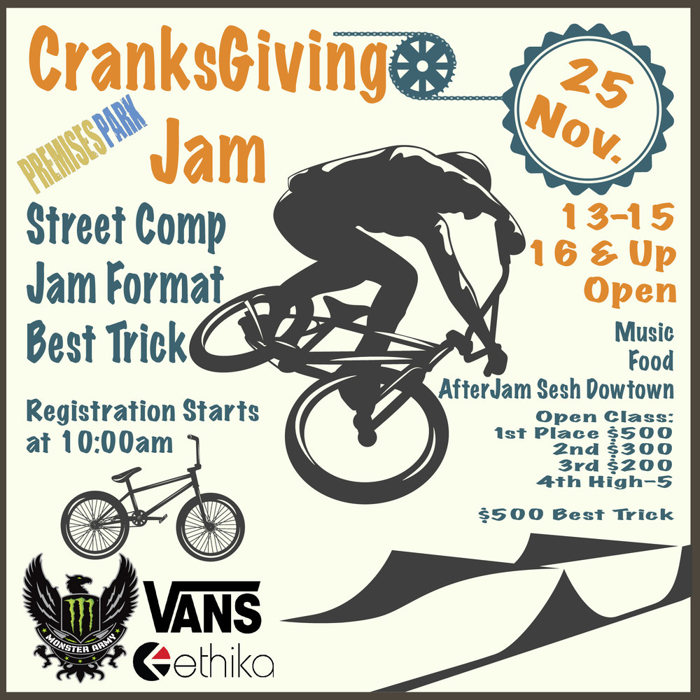 CranksGiving Street Jam Premises Park