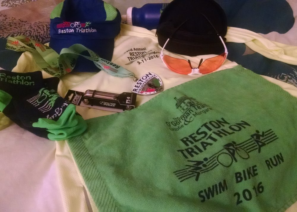 So. Much. Swag!  And so much of it is stuff I can actually use! Well done, Reston Tri