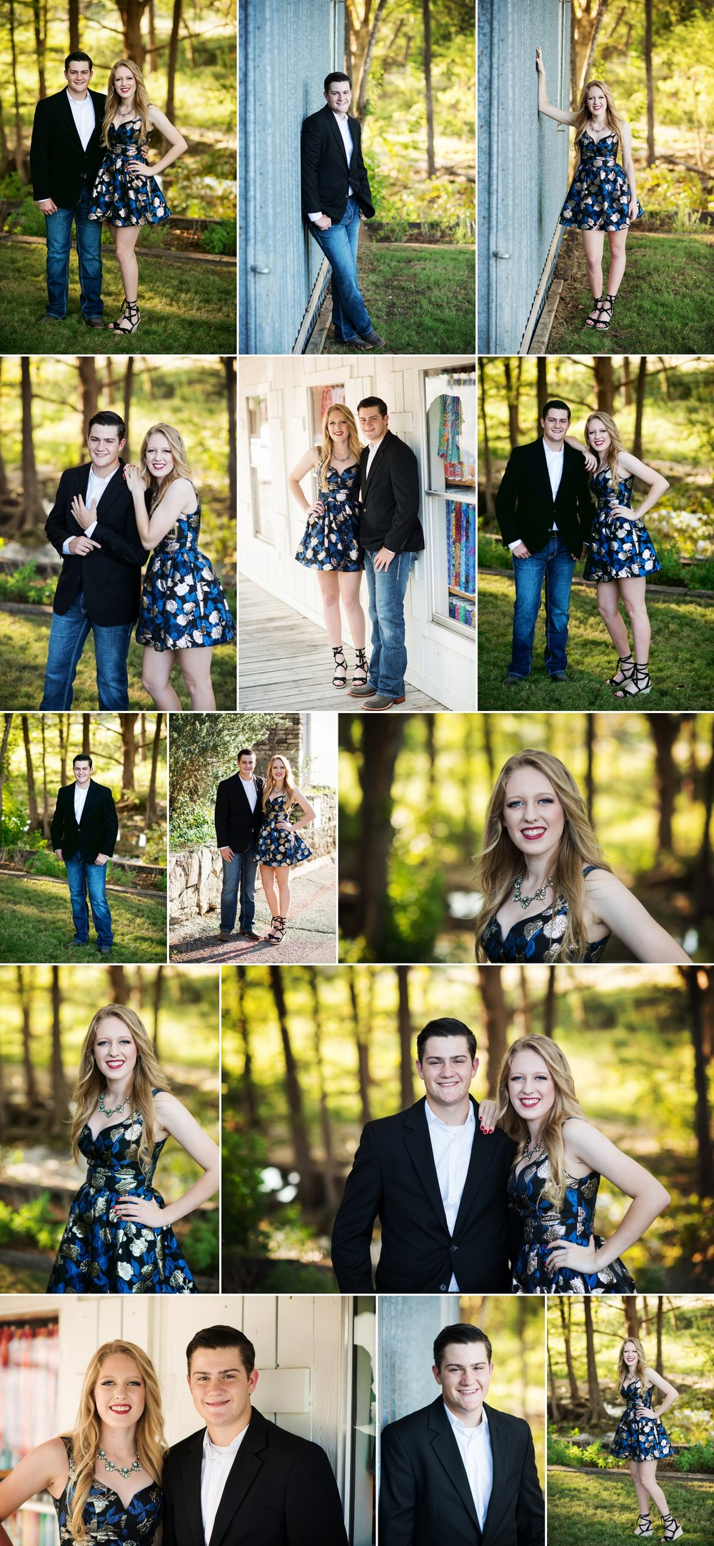 Austin Senior Photographer Heidi Knight Photography.  Homecoming photos.  Cute couple poses for friends.  Royal, black and gold party dress.  Black jacket, boots, jeans.  Texas formal.