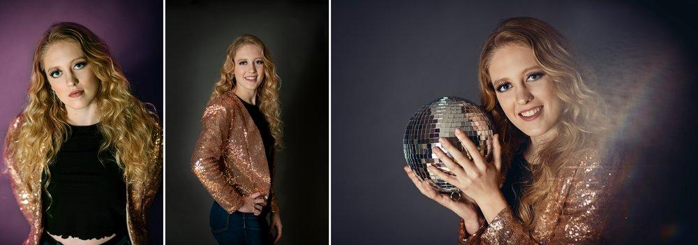 new year photo ideas, disco ball, sequin jacket, 80's style, backdrop, flash photography, teen, senior photographer, austin senior photographer