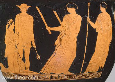 Persephone returning from the Underworld with Hermes as guide. Hecate carries the torches, lighting her way. Demeter stands back holding a staff.    Attic red figure krater, classical period.