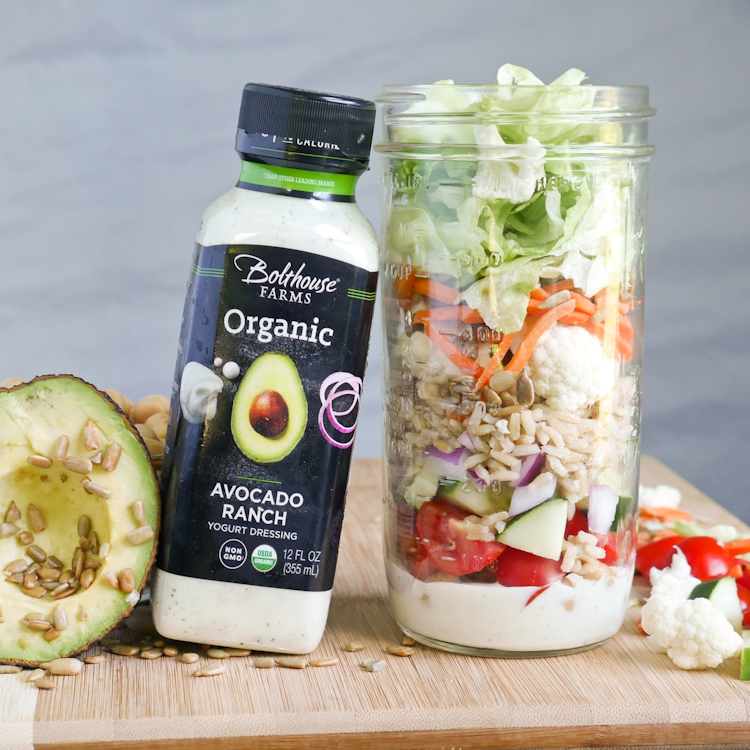 How to make a Mason Jar Salad with Bolthouse Farms Organic Avocado Ranch Dressing