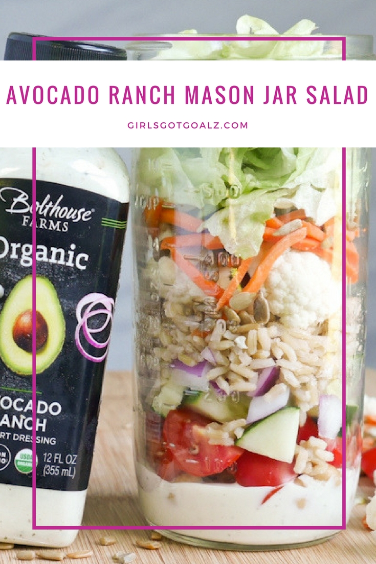 How to make an Avocado Ranch Mason Jar Salad with Bolthouse Farms NEW Organic Dressing