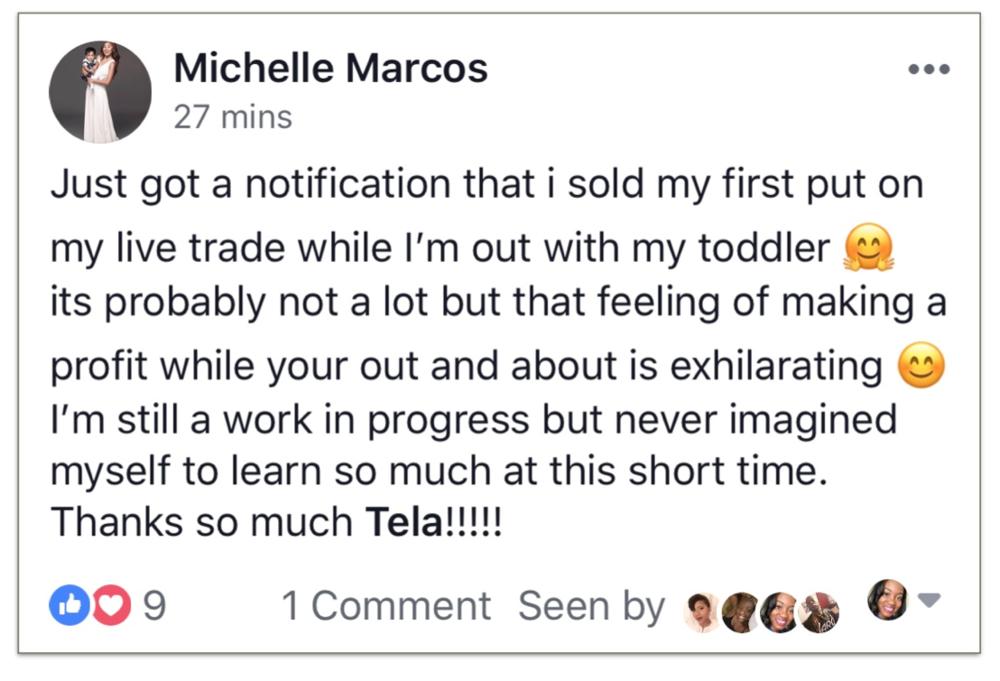 Trade Your 9 to 5 Testimonial Michelle