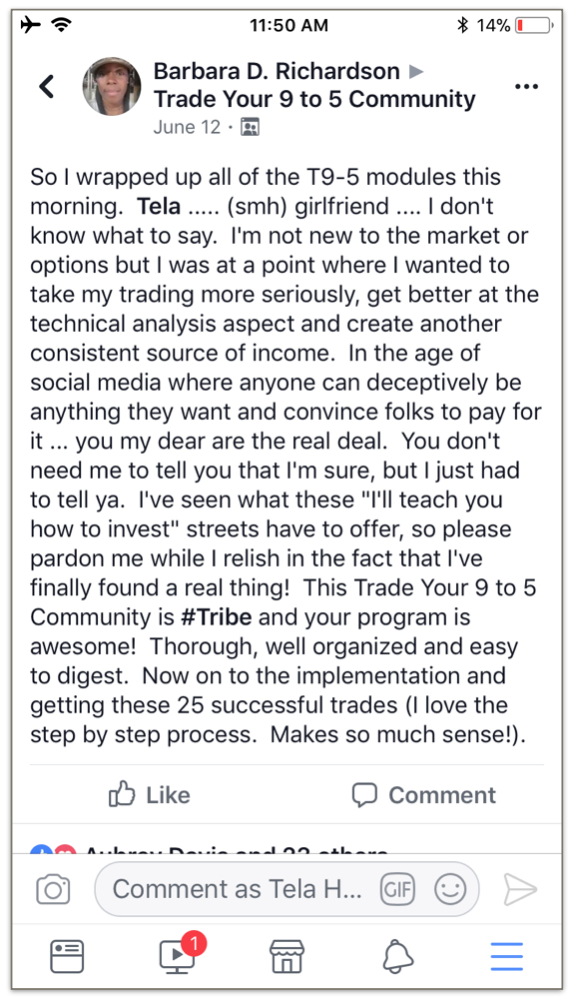 Trade Your 9 to 5 Testimonial Barbara