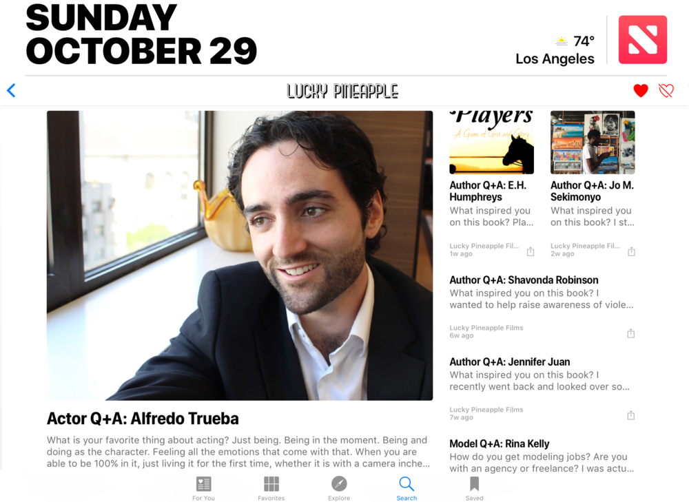 Apple News - Lucky Pineapple - Actor Q+A: Alfredo Trueba