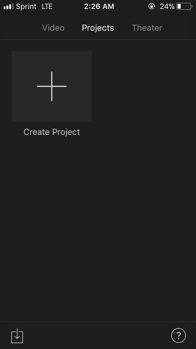 "a.  Open up iMovie app and select ""Create Project"""