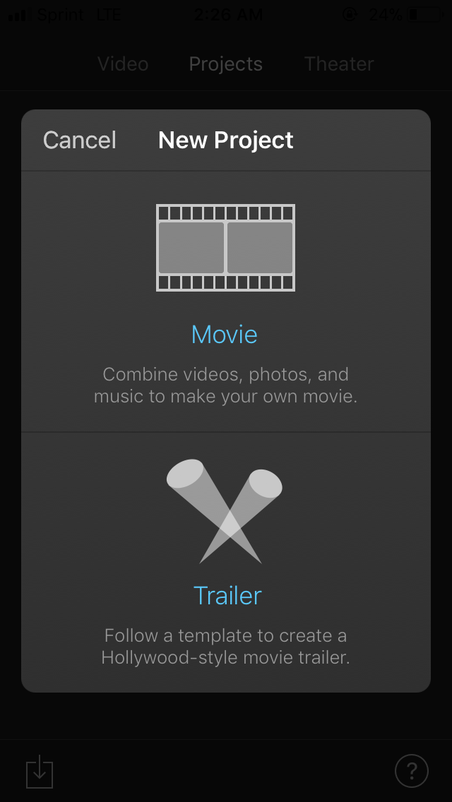 "b.  Select ""Movie"" under the New Project option"
