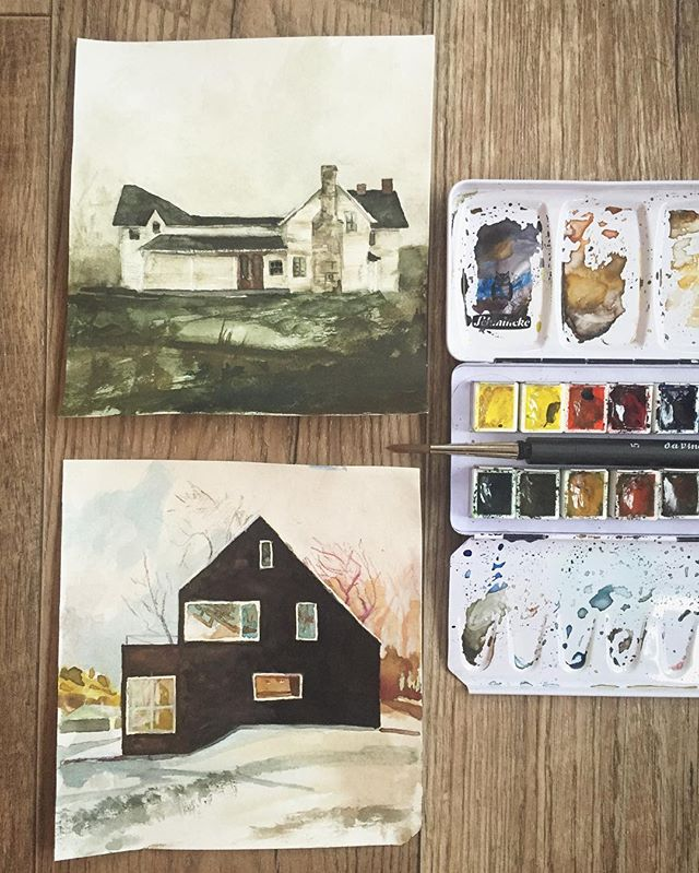 Walker has been doing these cute little watercolor paintings lately. Some days it's hard, but we try to create everyday! @walkertroman  #barnyardsaintsart #barnyardsaints #littlepainting #paintaday #arteveryday #novemberfeels #ontheroad #tinyliving #watercolor #watercolorpainting