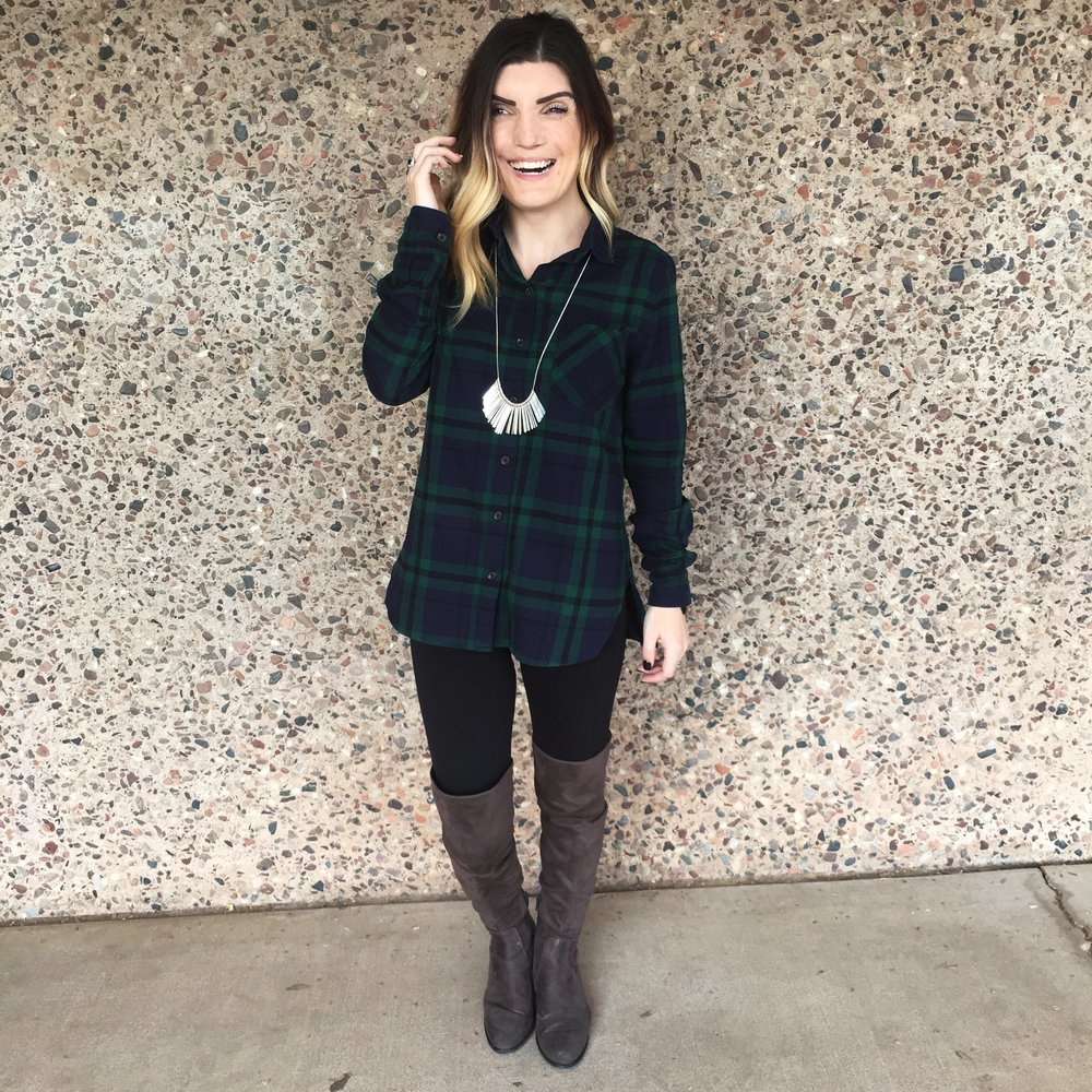 Similar Flannel ,  Leggings ,  Boots ,  Similar Necklace