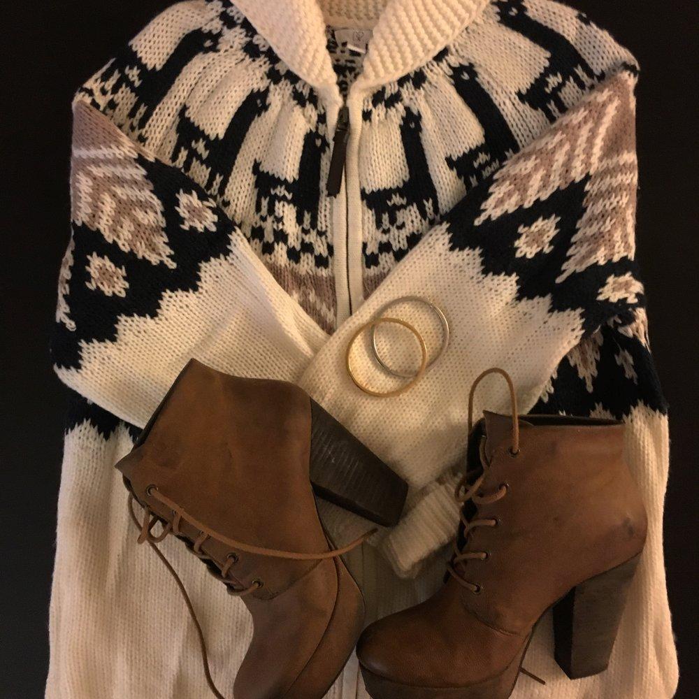 Similar Fair Isle Sweater ,  Kate Spade Bracelets