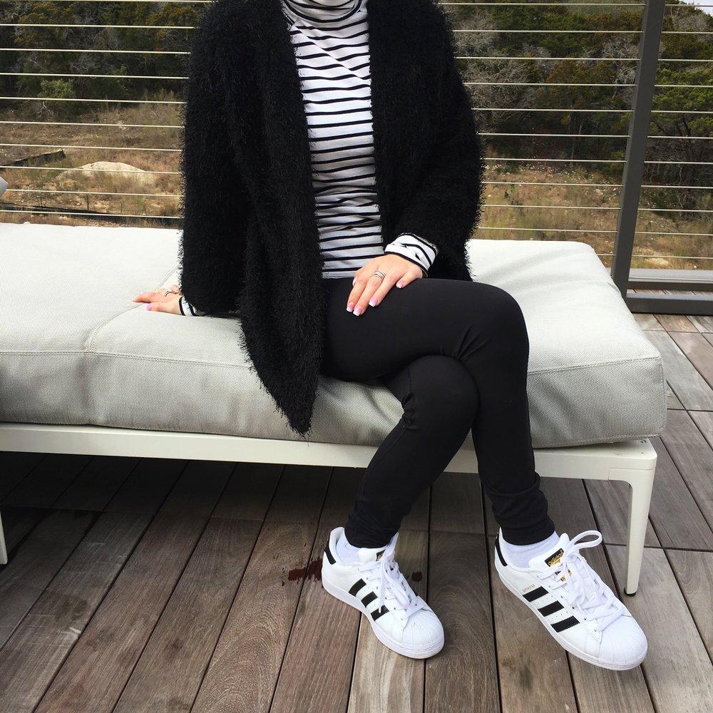Striped Turtleneck,  Similar Cardigan , Tennis Shoes