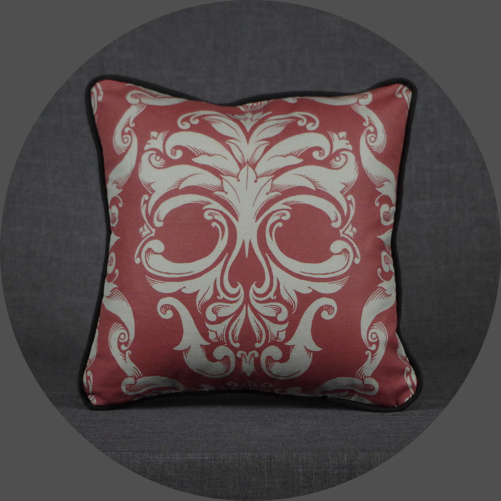 Scrollwork Skull Pillow