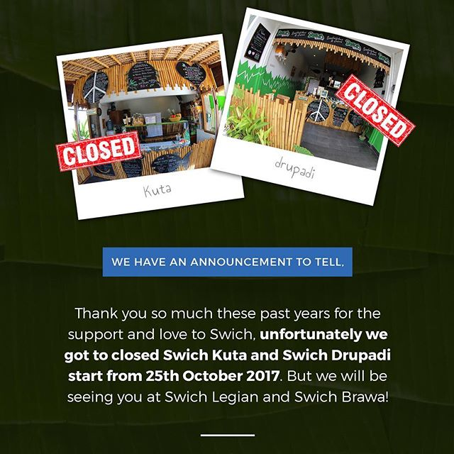 """Breaking News!! After these pass years we served the freshest sandwiches around the hood of Drupadi and Kuta, and now we got to say """"sampai jumpa"""" to you that always supporting us. But don't you worry we will be seeing you back in Swich Legian or Swich Brawa, again thank you for all the support and stay tune for more great news to come.. #SwichBali #Swich #Fresh #Healthy #Sandwiches #Juices  #TheWayYouLikeIt #Legian #Brawa #SampaiJumpa #Drupadi #Kuta #Bali #WeAreFreshFoodNotFastFood #WarungSandwich www.swichbali.com"""