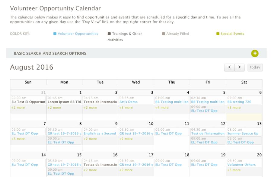 Calendar of Volunteer Opportunities