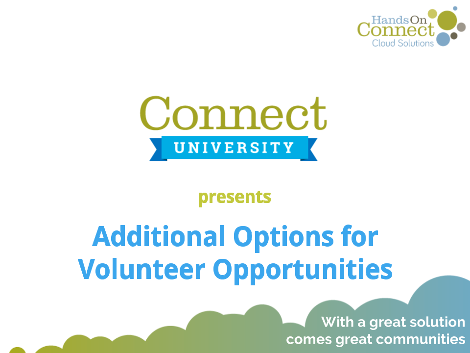Additional Options for Volunteer Opportunities