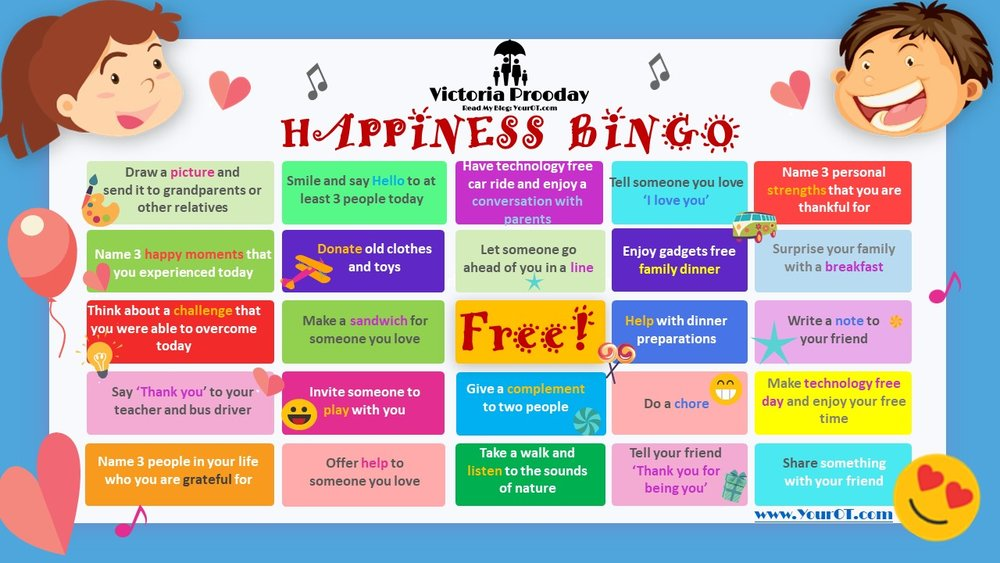 Click the Image Above to download PDF version of Happiness Bingo