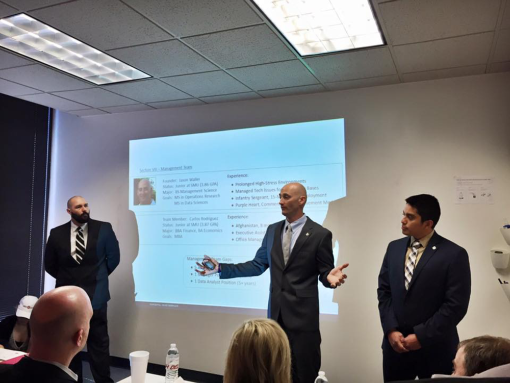 Delivering a winning pitch at Southern Methodist University's Big iDeas Business Plan Competition.