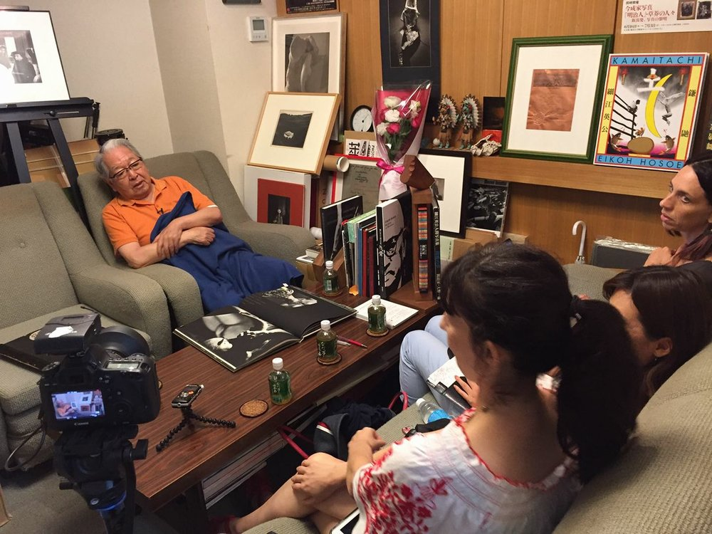 Interview today in Tokyo by Vangeline for Vangeline Theater / New York Butoh Institute with Legendary photographer Eikoh Hosoe, a contemporary of Hijikata Tatsumi and Writer Mishima. August 11, 2017. Photo Azumi Oe.