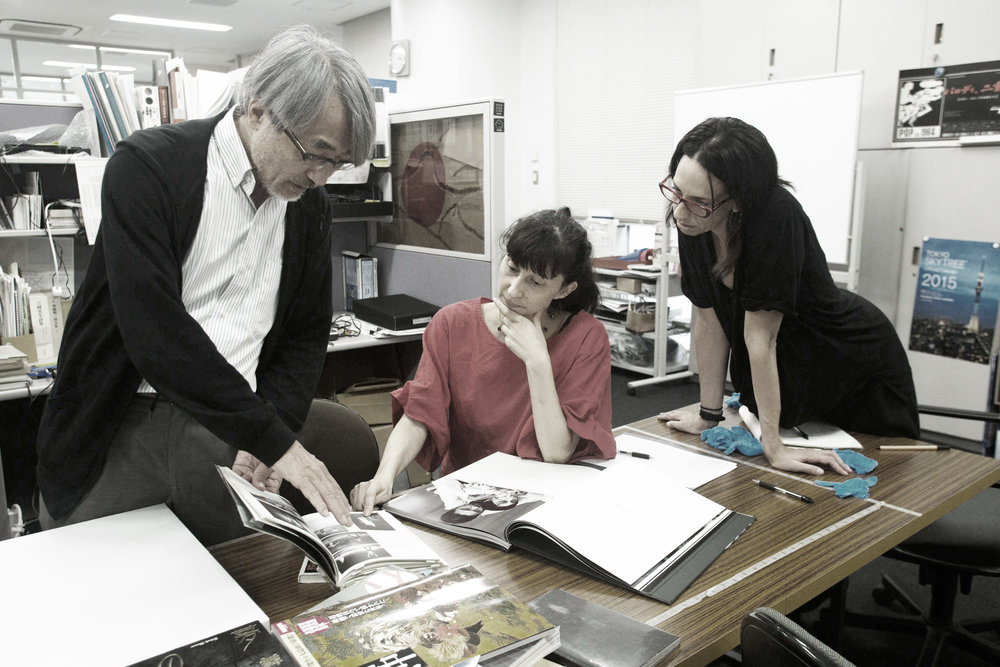 Mr. Morishita, Vangeline, Azumi Oe and Shoshana Green at the Tastumi Hijikata Archives, August 10th, 2017.Photo Azumi Oe.