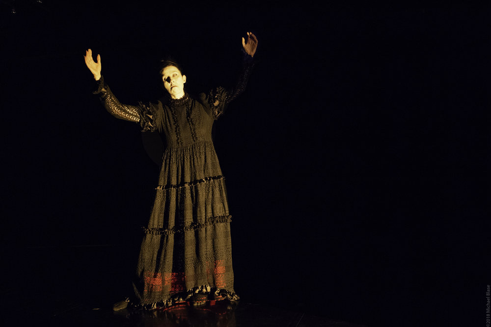Vangeline in butoh performance of Elsewhere at Gibney Dance in 2018. Photo by Michael Blase.