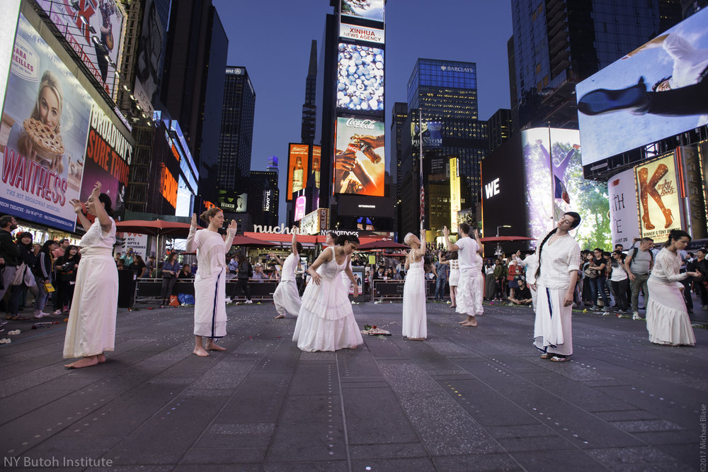 9/11 Commemoration- September 11, 2017. Butoh performance in Times Square with Vangeline Theater and students.