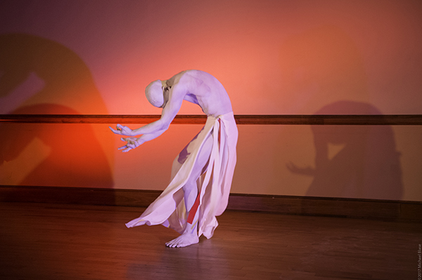 Dai Matsuoka in Nine with Vangeline Theater/New York Butoh Institute. 2018. Photo By Michael Blase.