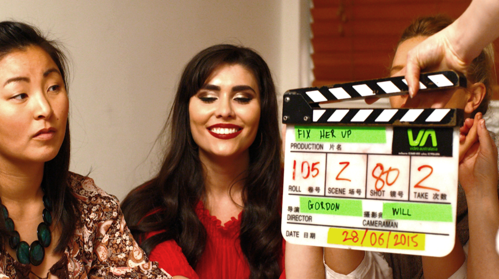 On set with cast members Sion Williams, Asleen Mauthoor & Katherine Innes