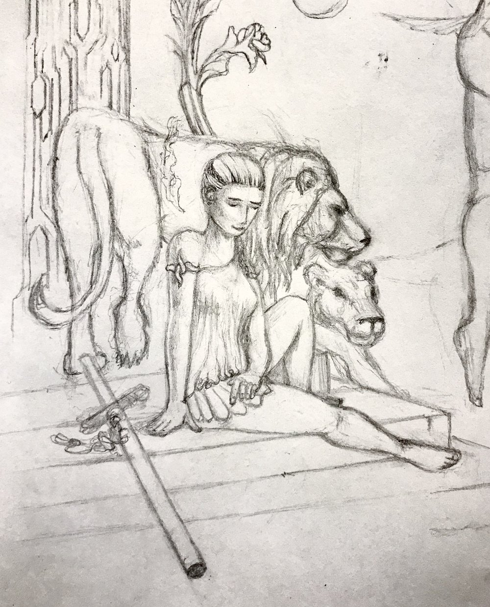 Maiden with Lions