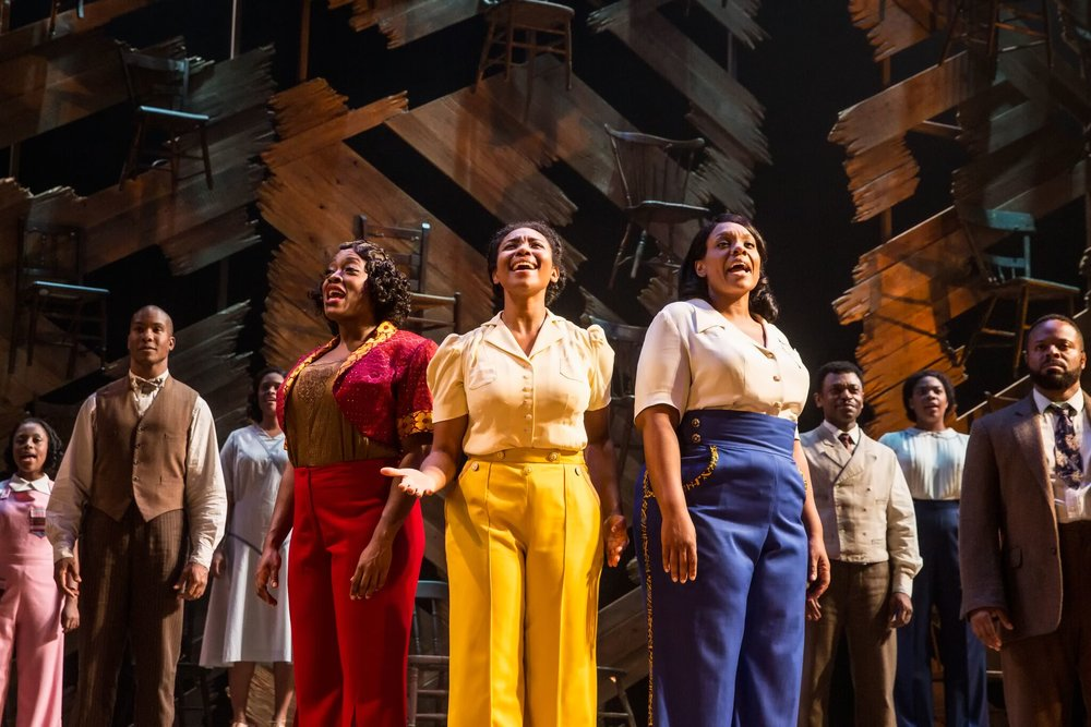 Carla R. Stewart (Shug Avery), Adrianna Hicks (Celie) and Carrie Compere (Sofia) and the North American tour cast of THE COLOR PURPLE. Photo by Matthew Murphy, 2017
