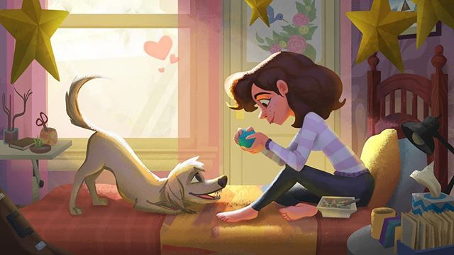 🐶❤️ #girl #cute #dog #petsofinstagram #love #doggie #illustration #visdev #ctn #woof