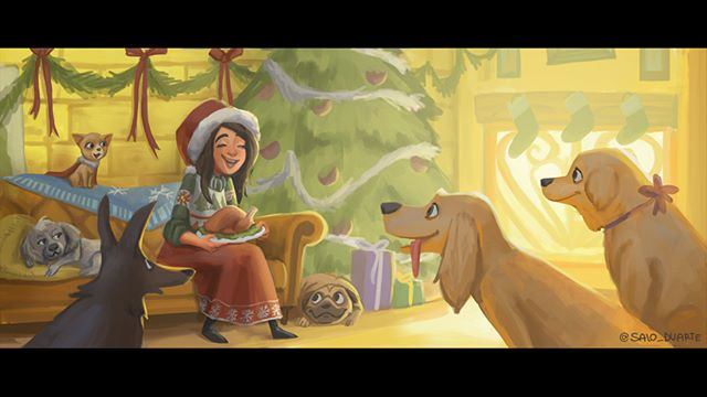 Merry Christmas!!! Have a great day surrounded by your loved ones =) #Christmas #Xmas #Navidad #winter #MerryChristmas #MerryXmas #Doggies #perros #dog #petsofinstagram #illustration #art #visdev #animation #girl #cute #artistsofinstagram #happyholidays #instaart