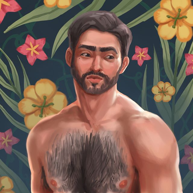 Finally had some free time to do some mindless painting on the iPad :) #illustration #procreate #drawing #art #drawing #procreate #portrait #hairy #flowers #hot #tropical #beard